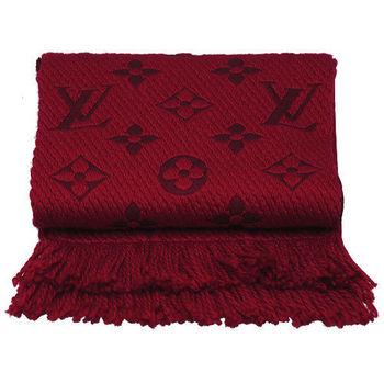 LV M72432 Monogram LOGO MANIA 羊毛針織圍巾(紅寶石色)