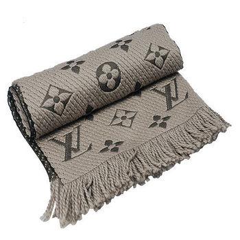 LV M72242經典花紋Monogram圍巾(咖啡灰)