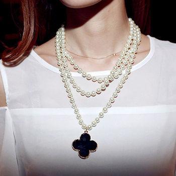 太妃糖 黑石珍珠優雅氣息項鍊