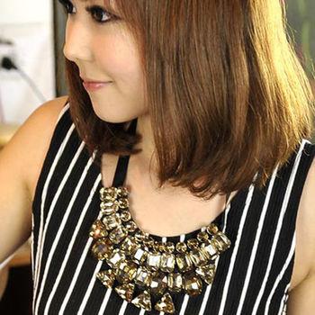 太妃糖 韓國原單女星晶鑽華麗感寶石項鍊(黃)