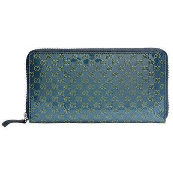 GUCCI 經典Micro Guccissima撞色設計漆皮牛皮拉鍊長夾(藍綠X草綠)