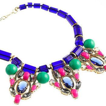 太妃糖 韓國原單精鍍美鑽藍寶石項鍊