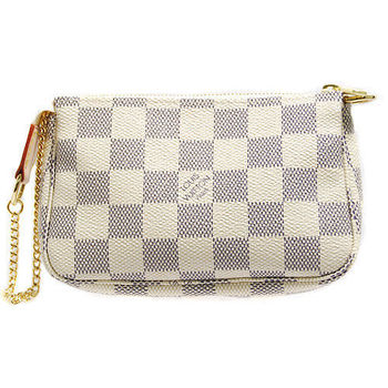 LV N58010 白色棋盤格時尚小手拿包