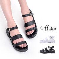 ~Messa米莎專櫃女鞋~MIT 南韓手感縫線 一字厚底涼鞋 ^#45 二色