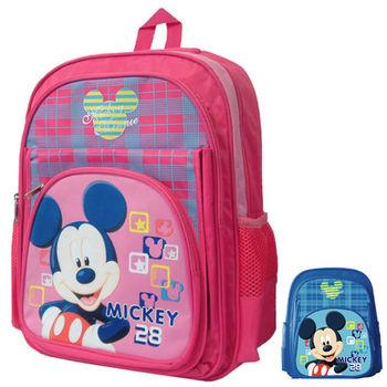 【Mickey 米奇】精緻格紋雙層書背包(桃/藍_MI4152)