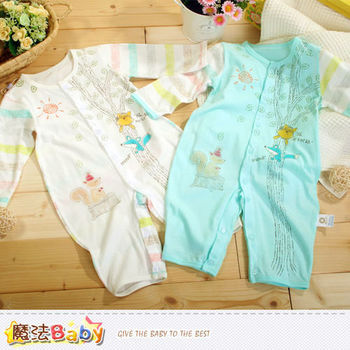 魔法Baby~專櫃款輕薄純棉長袖寶寶連身衣(藍.白)~k40357