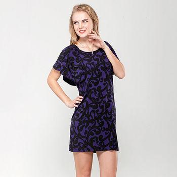 IFOREST 紫藤蔓波浪袖合身短洋裝14269