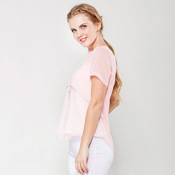 IFOREST 粉色透膚雙層雪紡輕柔上衣14151