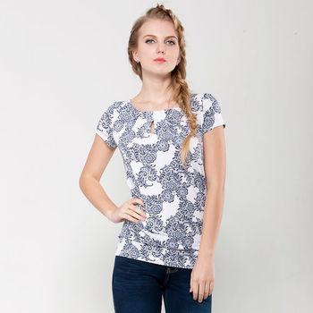 IFOREST 印花領口洞壓摺短袖上衣(藍花)15009