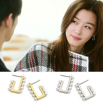 太妃糖 韓國來自星星的你千頌伊珍珠排鑽耳環(2色)