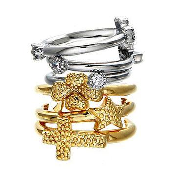 太妃糖 星星十字幸運草組合戒指(3個1組/2色)