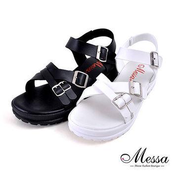 【Messa米莎專櫃女鞋】MIT 絕美交叉金屬側扣粗跟厚底涼鞋-二色