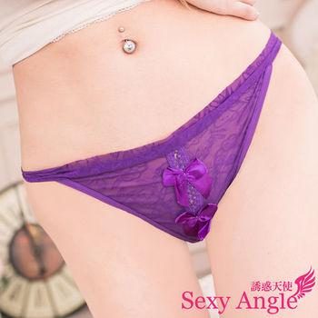 【誘惑天使】C010-4甜蜜寶貝*粉紅柔紗蝶結丁字褲(甜蜜紫)