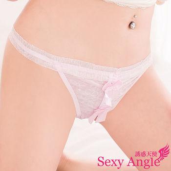 【誘惑天使】C010-1甜蜜寶貝*粉紅柔紗蝶結丁字褲(甜蜜粉)