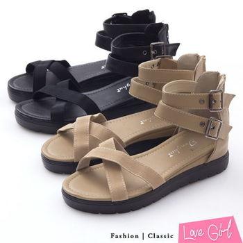 ☆Love Girl☆百搭交叉雙扣環小心機內增高羅馬涼鞋