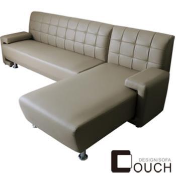 【COUCH】大和簡約L型皮沙發玻璃茶几超值組(四色可選)