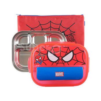 不鏽鋼多格餐盤(收納蓋款) 蜘蛛人