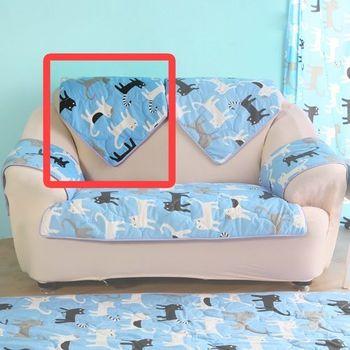 【HomeBeauty】可愛涼感沙發布座墊-椅背(藍色喵喵)
