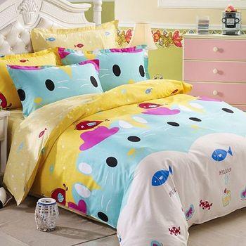 【法式寢飾花季】時尚典藏-加大精梳全棉加大款涼被床包組(可愛寶貝6*6.2尺)