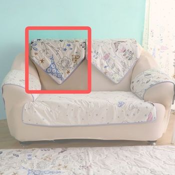 【HomeBeauty】可愛涼感沙發布座墊-椅背(春漫鐵塔)
