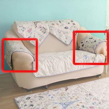 【HomeBeauty】可愛涼感沙發布座墊-扶手一對(春漫鐵塔)