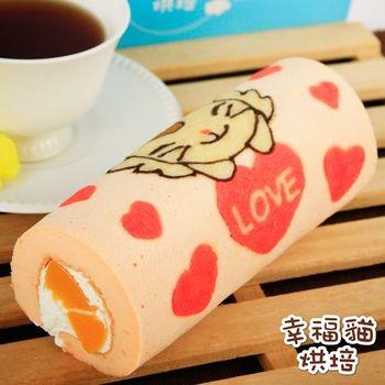 《糖果貓烘焙》天使貓蜜桃蛋糕捲(420g/條,共兩條)