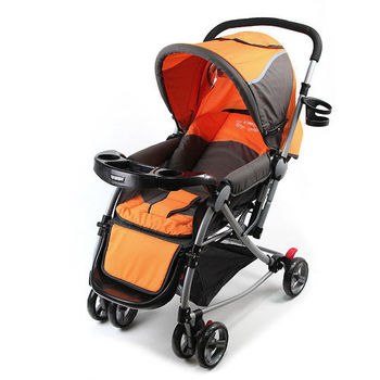 EMC第二代法式三用豪華推車(搖床、搖椅、推車)活力橘