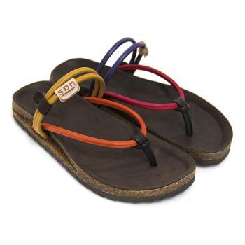 【GREEN PHOENIX】自然率真極簡撞色全真皮夾腳兩穿平底涼拖鞋-桃紅色、橙色