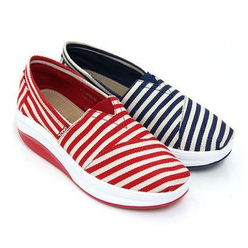 【SNAIL蝸牛】元氣海軍撞色線條輕量厚底休閒懶人鞋-藍色、紅色