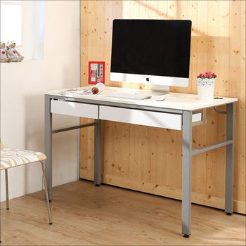 《BuyJM》低甲醛鏡面120公分雙抽屜穩重型工作桌