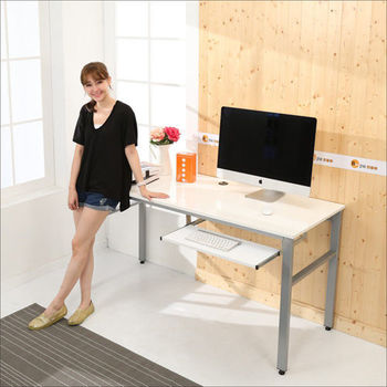 《BuyJM》低甲醛鏡面160公分穩重型單鍵盤電腦桌