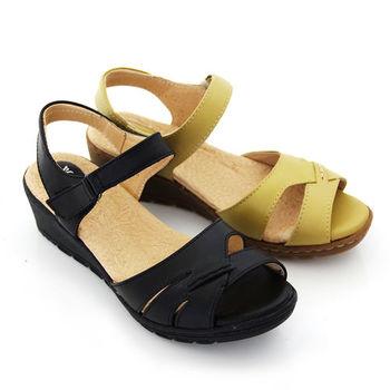【GREEN PHOENIX】自然崇拜極簡交叉沾黏式手縫全真皮氣墊小坡跟涼鞋-黑色、黃色