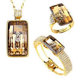 新光飾品NEOGLORY JEWELRY施華洛元素水晶三件套組(項鍊+戒指+手環)