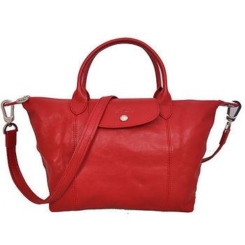 LONGCHAMP 小羊皮短把摺疊包-小-附背帶(紅色)
