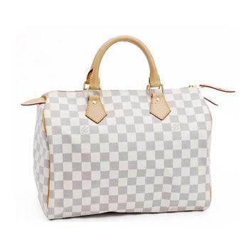【LV】N41370 SPEEDY 30 白棋盤格紋手提包(附鎖組)-預購