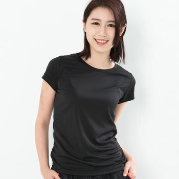 CoolMax 吸濕排汗衣涼感舒適機能吸排素色T恤  仕女款 黑色