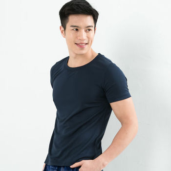 CoolMax 吸濕排汗衣 涼感舒適新體驗 真機能吸排素色T恤型男 丈青