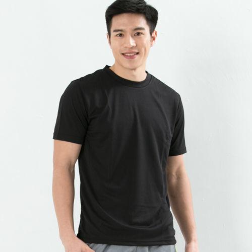 CoolMax 吸濕排汗衣 涼感舒適新體驗 真機能吸排素色T恤型男 黑
