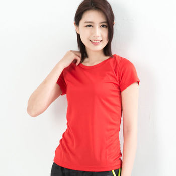 CoolMax 吸濕排汗衣涼感舒適機能吸排素色T恤  仕女款 紅色