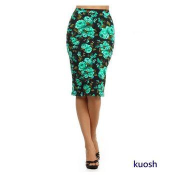 KUOSH美國進口玫瑰壓花俏臀及膝窄裙NS-5312