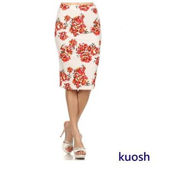 KUOSH美國進口玫瑰壓花俏臀及膝窄裙NS-5313