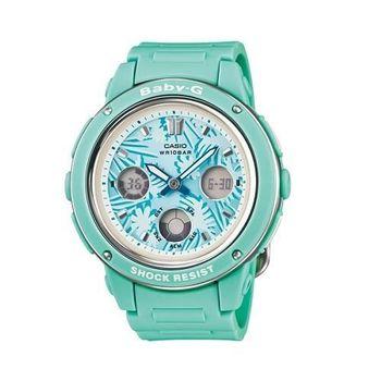 BABY-G 亮彩美麗體驗三眼雙顯個性花草元素造型腕錶-綠-BGA-150F-3A