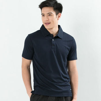 CoolMax 吸濕排汗衣涼感舒適真機能吸排素色POLO衫型男款 丈青