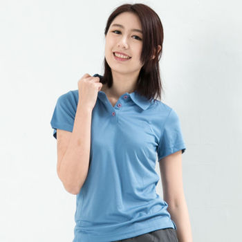 CoolMax 吸濕排汗衣涼感舒適機能吸排素色POLO衫 仕女款 空藍