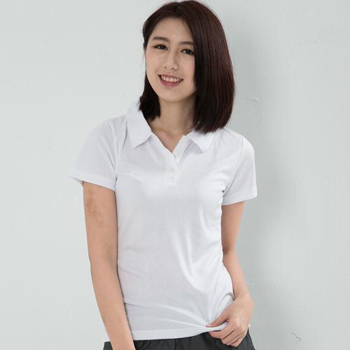 CoolMax 吸濕排汗衣涼感舒適機能吸排素色POLO衫 仕女款 白色