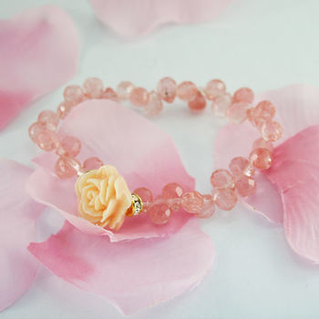 【xmono】幸福玫瑰花手鍊(草莓水晶)