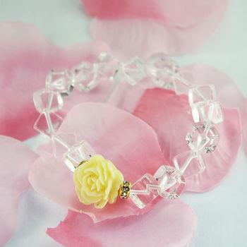 【xmono】幸福玫瑰花手鍊(白水晶)