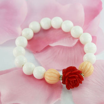 【xmono】幸福玫瑰花手鍊(硨磲貝珠)