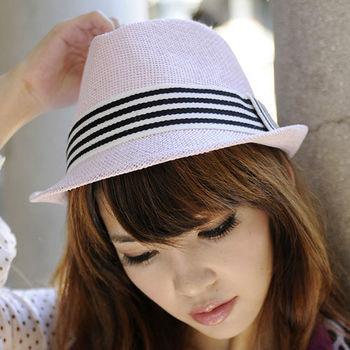 太妃糖 粉紅小曲線條點晶造型紳士帽
