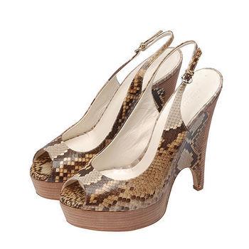 GUCCI 蟒蛇皮楔型魚口高跟鞋(米X棕色-40.5)